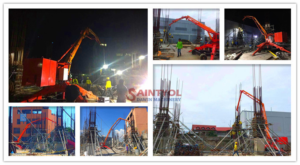 spider concrete placing boom job site work