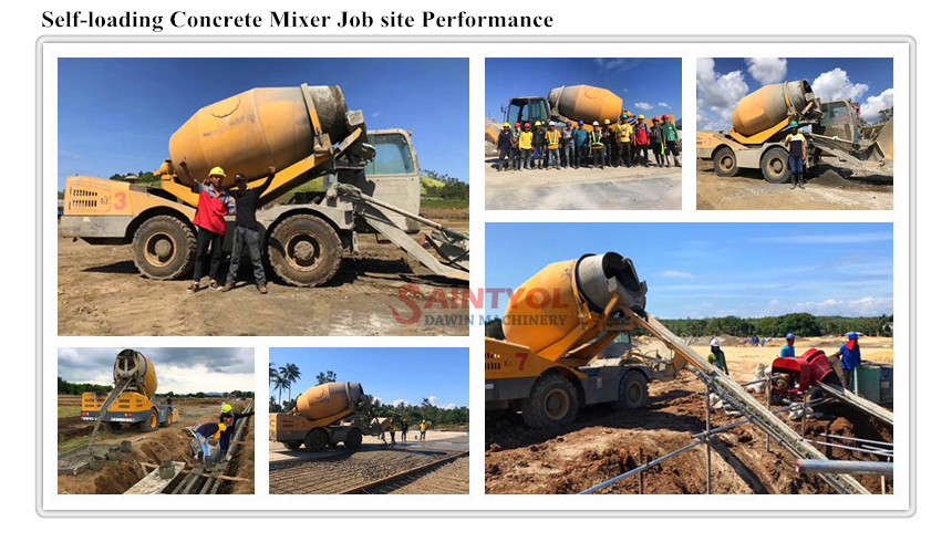 automatic self loading concrete mixer job site performance