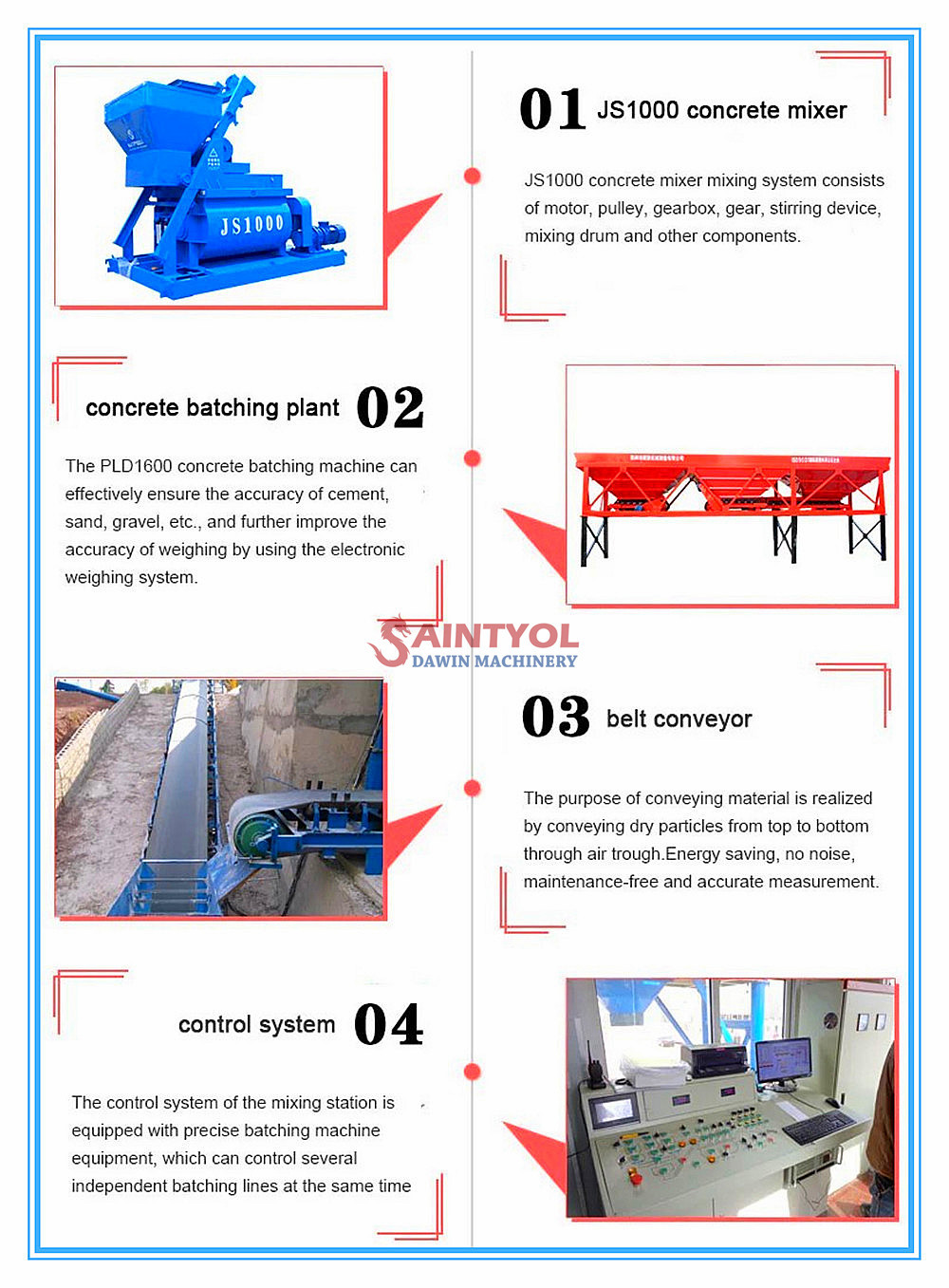 concrete batching plant main parts