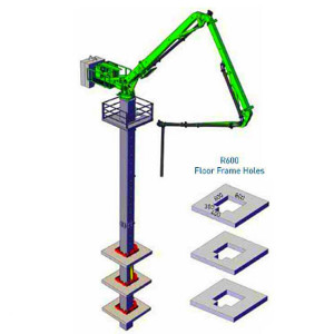 33m Column Tower Hydraulic Jack-Up Concrete Placing Boom, Self Climbing Concrete Placing Boom