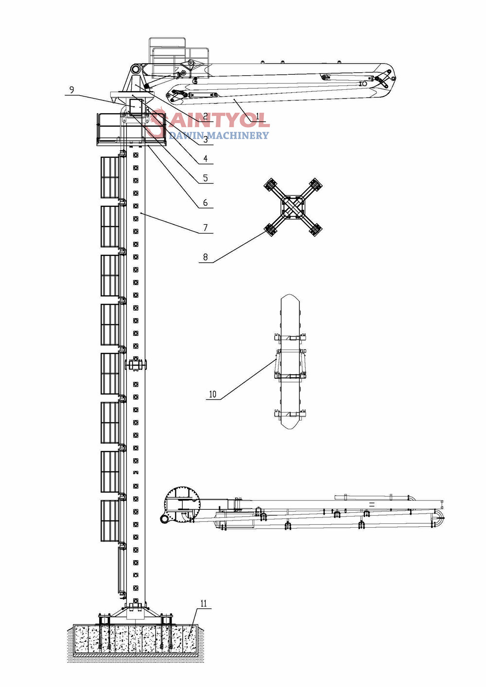 29m stationary hydraulic concrete placing boom