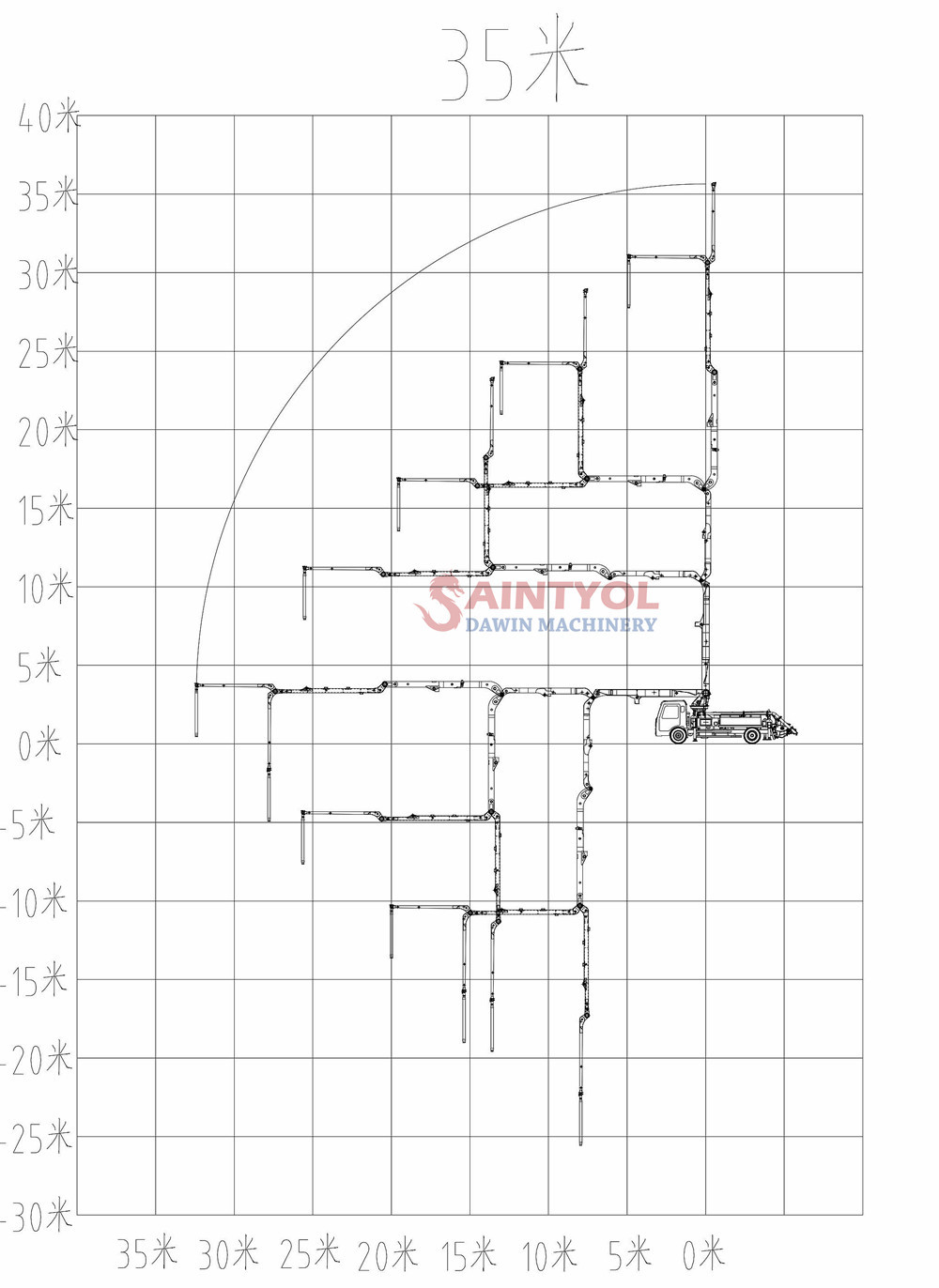 35m concrete pump truck working range drawing
