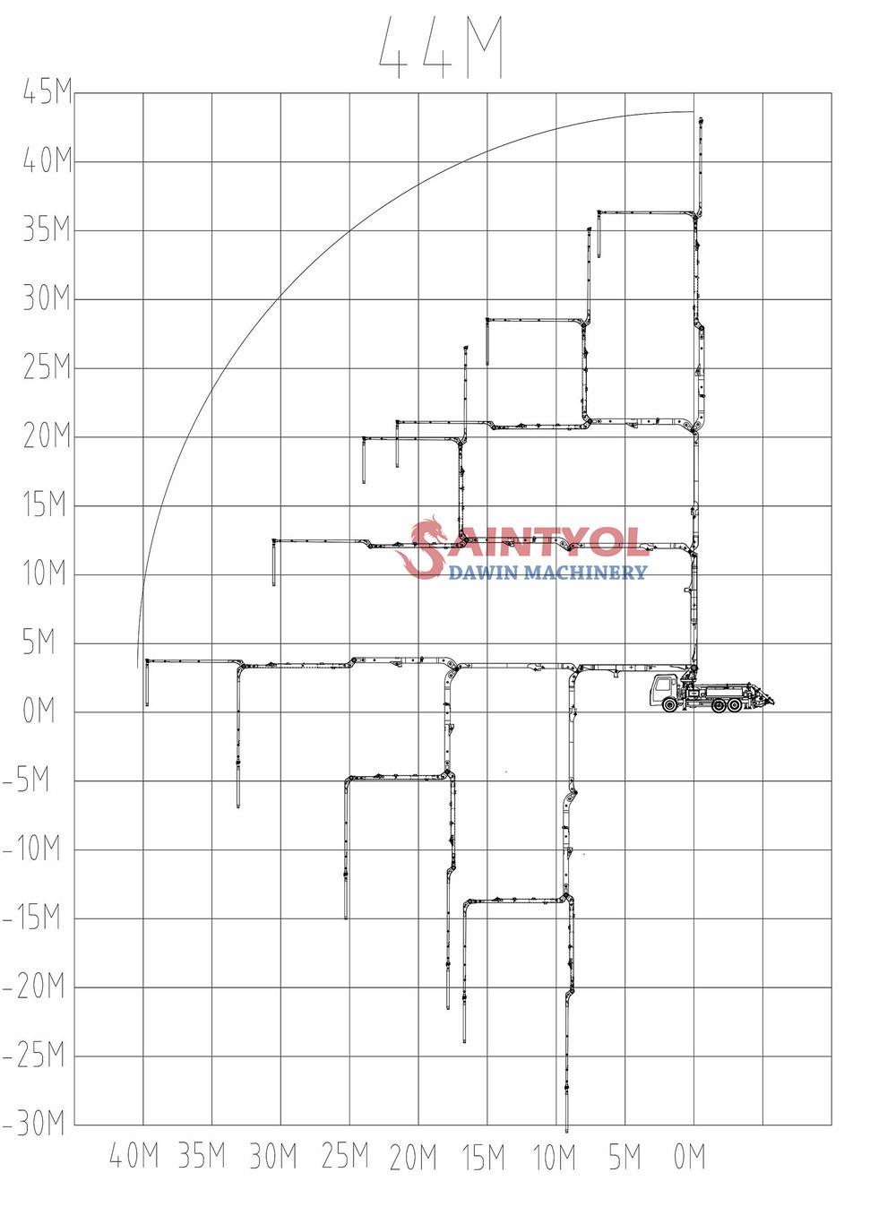 44m concrete boom pump truck working range drawing