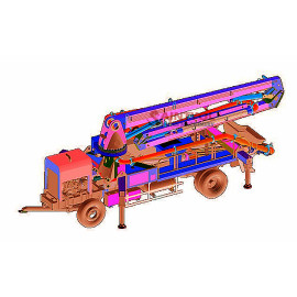 21m Diesel Engine Mounted Mobile Placing Boom Pump With Self-Made Chassis