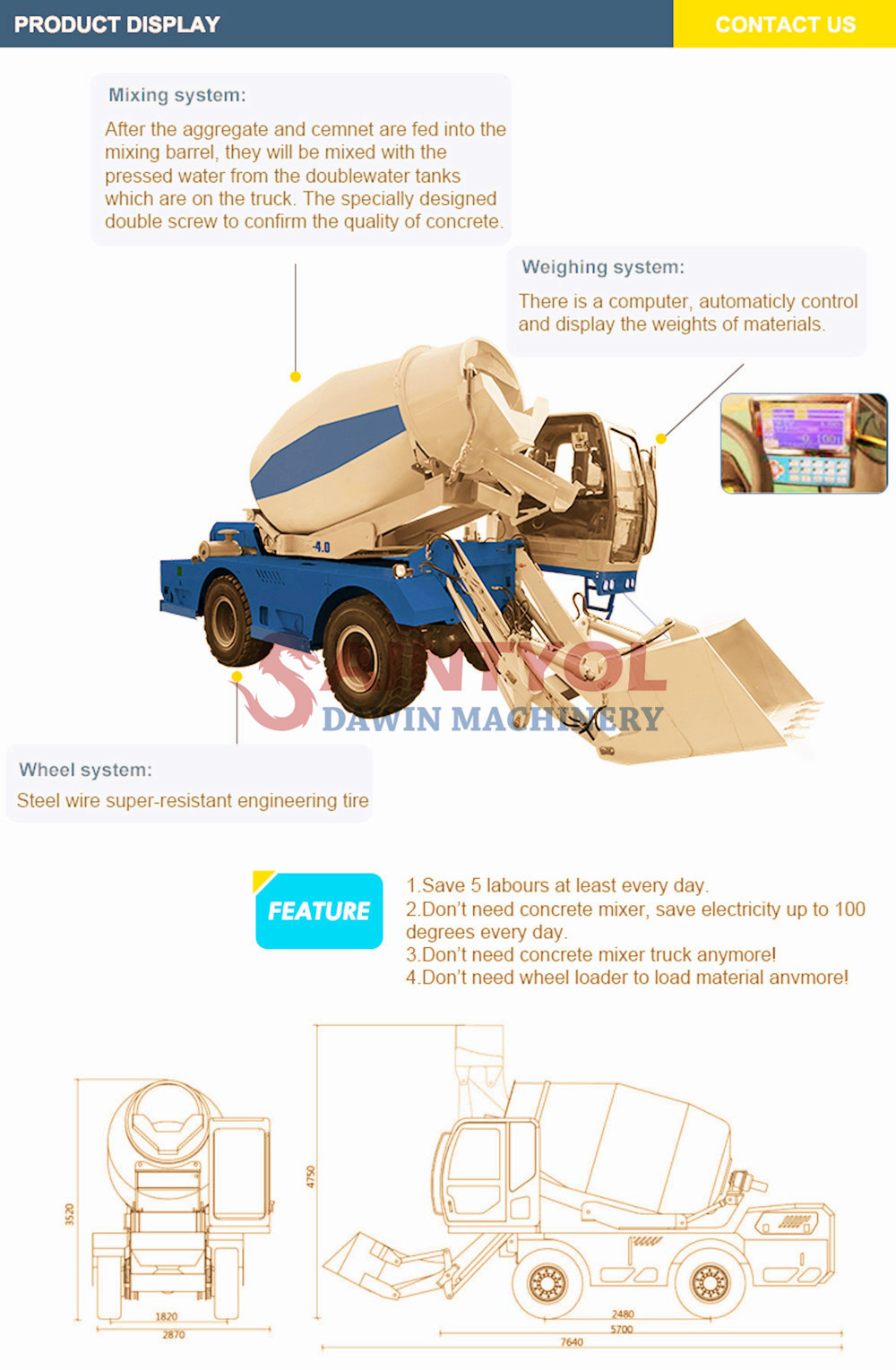 self loading concrete mixer truck details