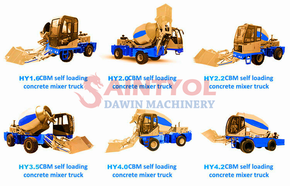 automatic self loading concrete mixer mixing capability models