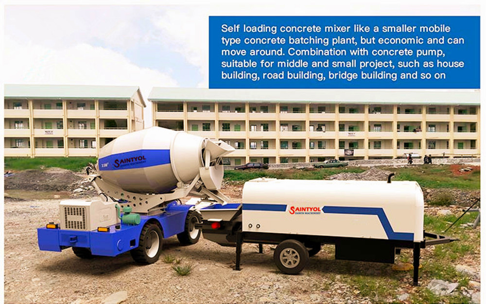 self loading concrete mixer working with trailer concrete pump