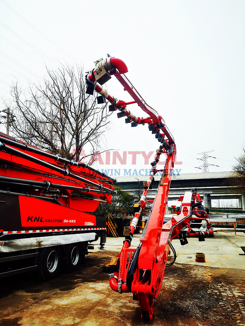 58m concrete placing boom pump truck weight test