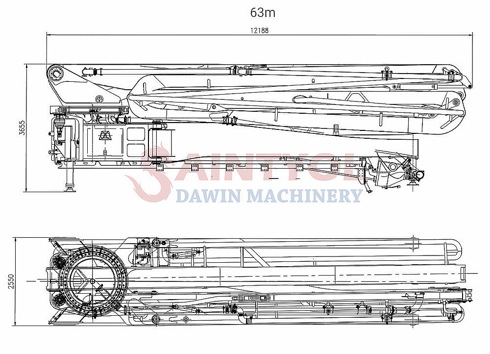 concrete boom pump truck upper parts drawing