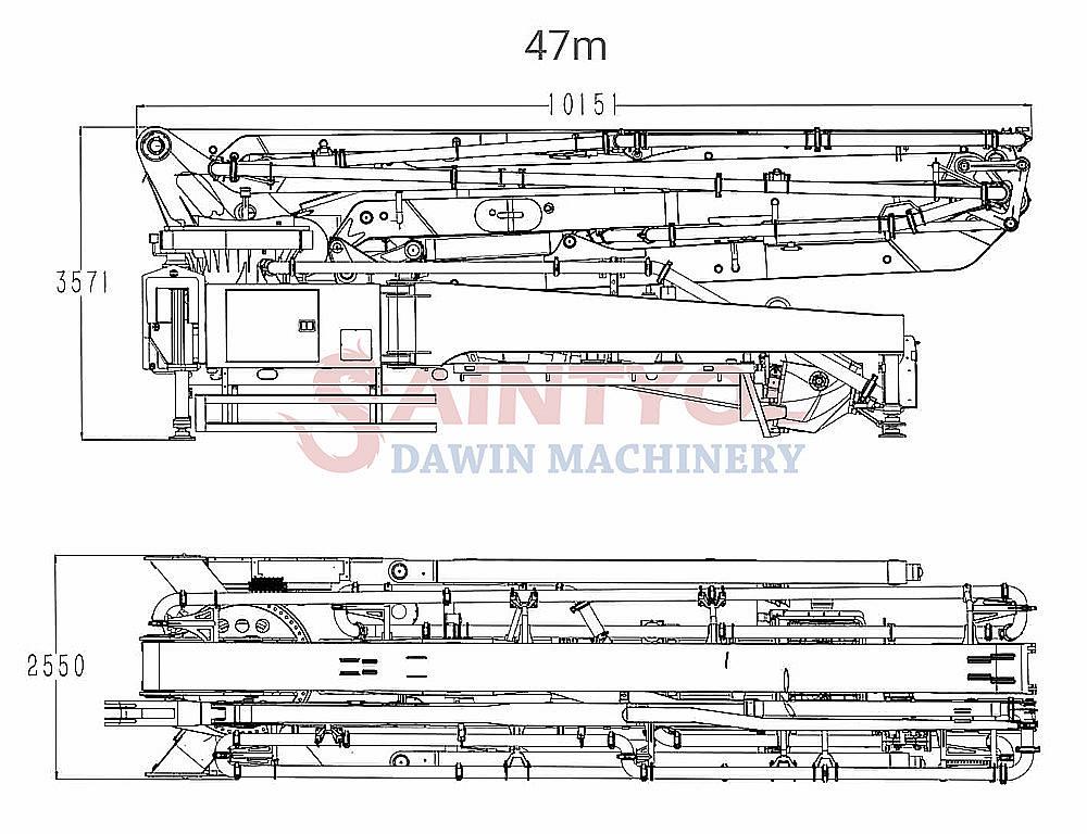 47m placing boom concrete pump truck upper parts
