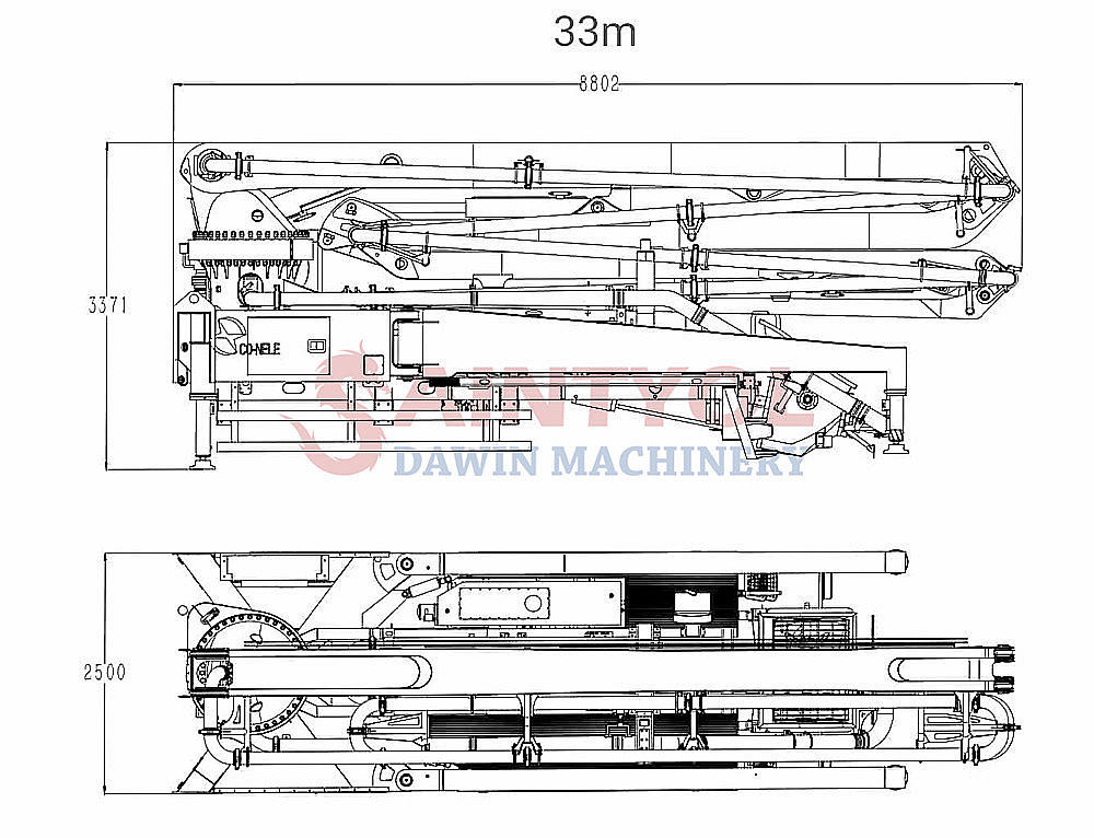 33m concrete pump boom truck upper parts