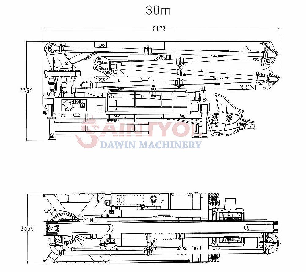 truck chassis concrete boom pump truck upper parts