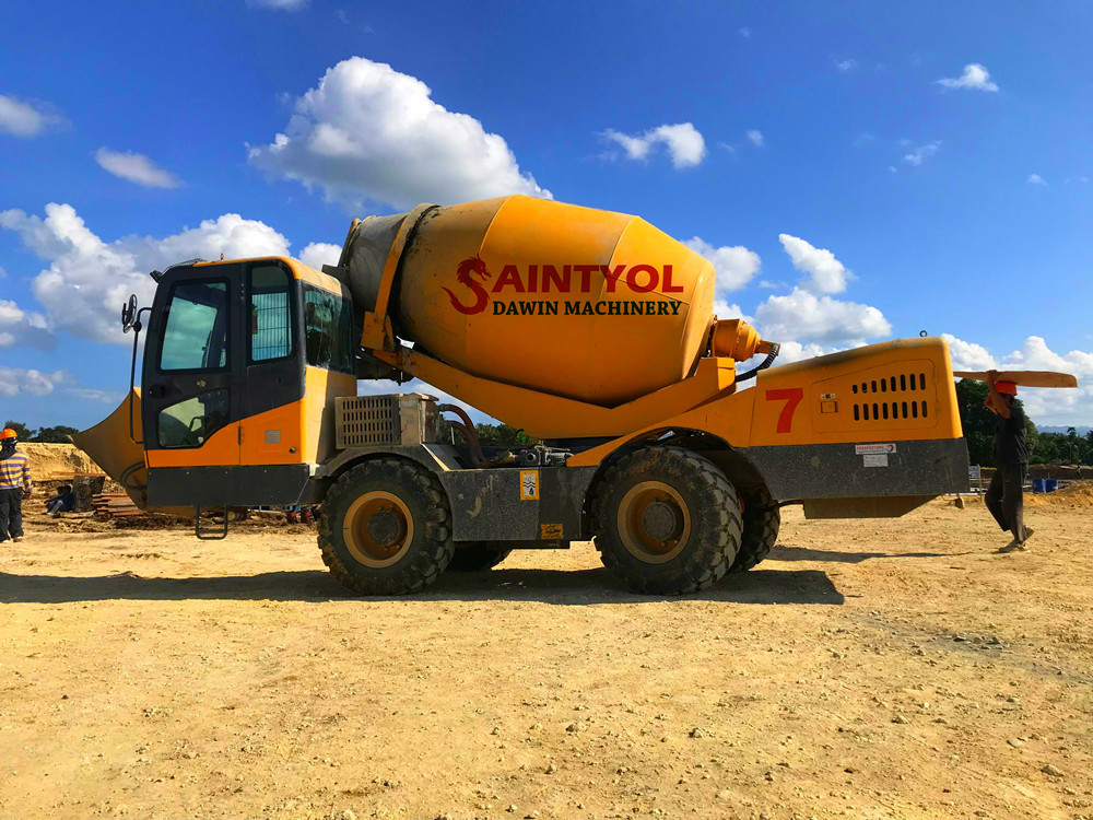 automatic loading concrete mixer truck