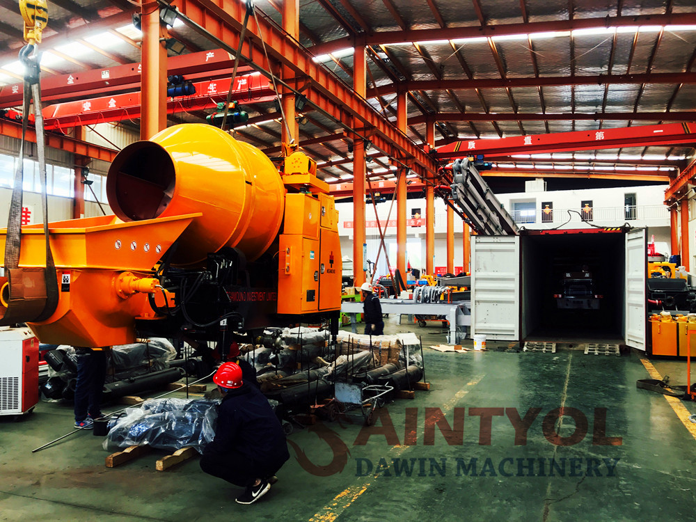 concrete mixer with pump fitting container process