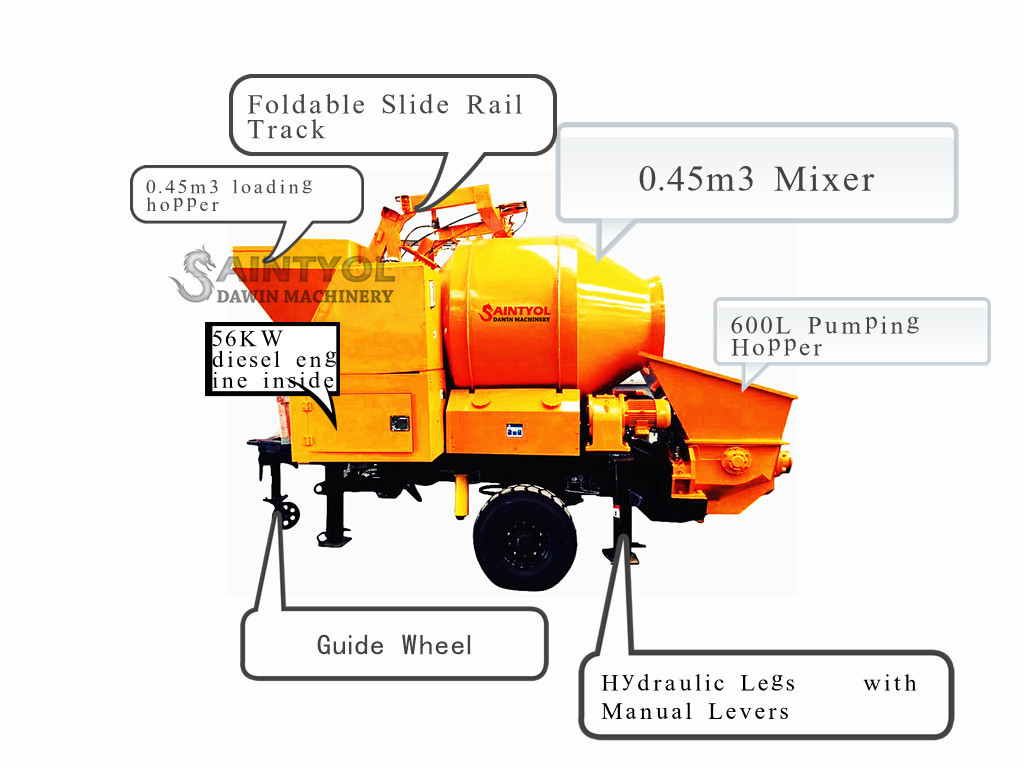 diesel engine concrete pump with mixer