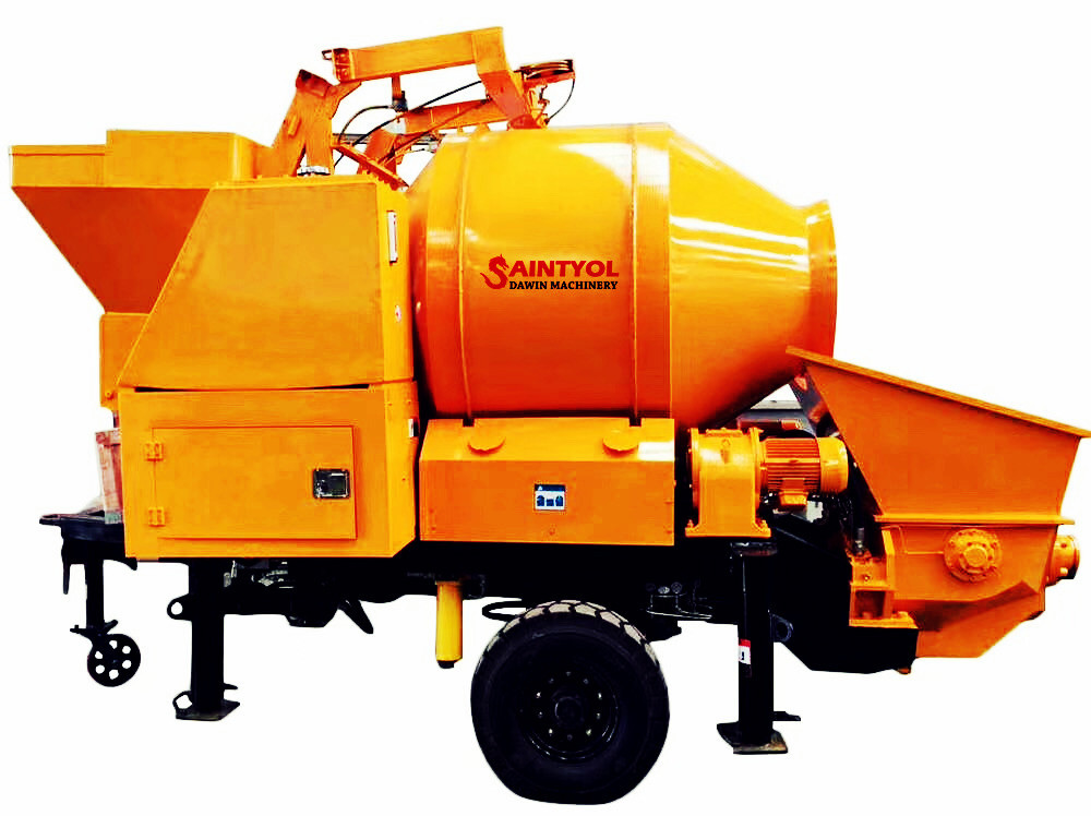hydraulic control self loading concrete mixer with pumping system