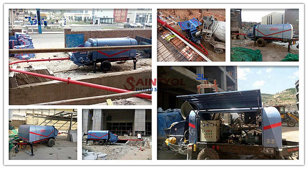 trailer fine stone concrete pump job site performance