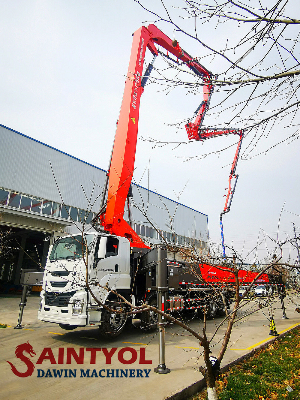 concrete placing boom pump truck
