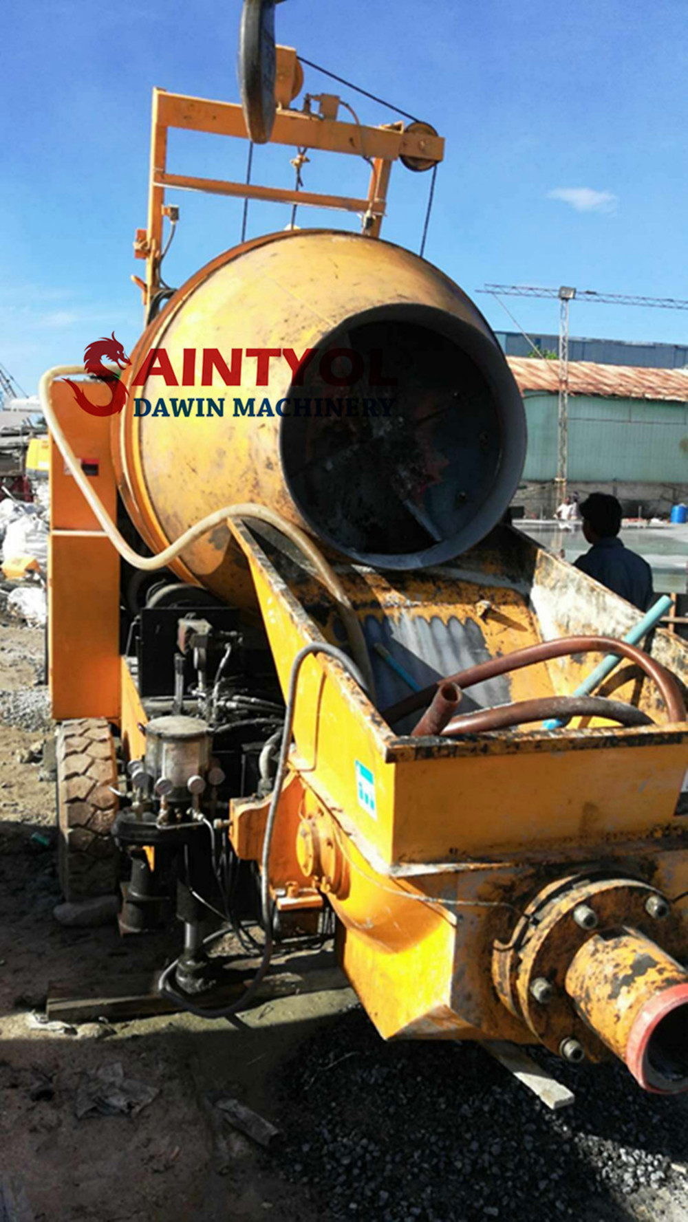 trailer mobile concrete pump with mixer