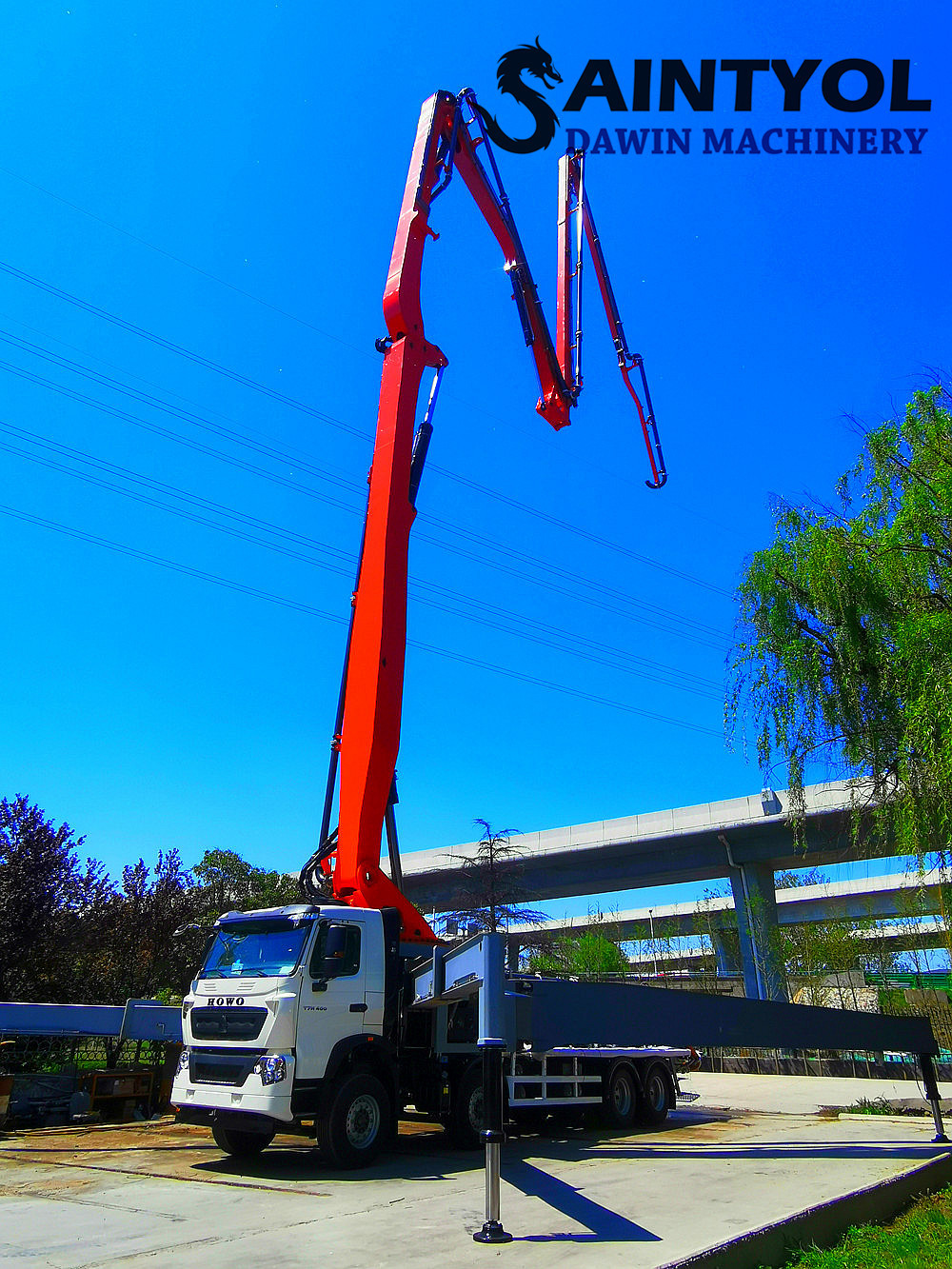 concrete placing boom pump truck