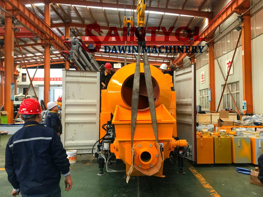 self loading concrete pump mixer shipped to Nigeria