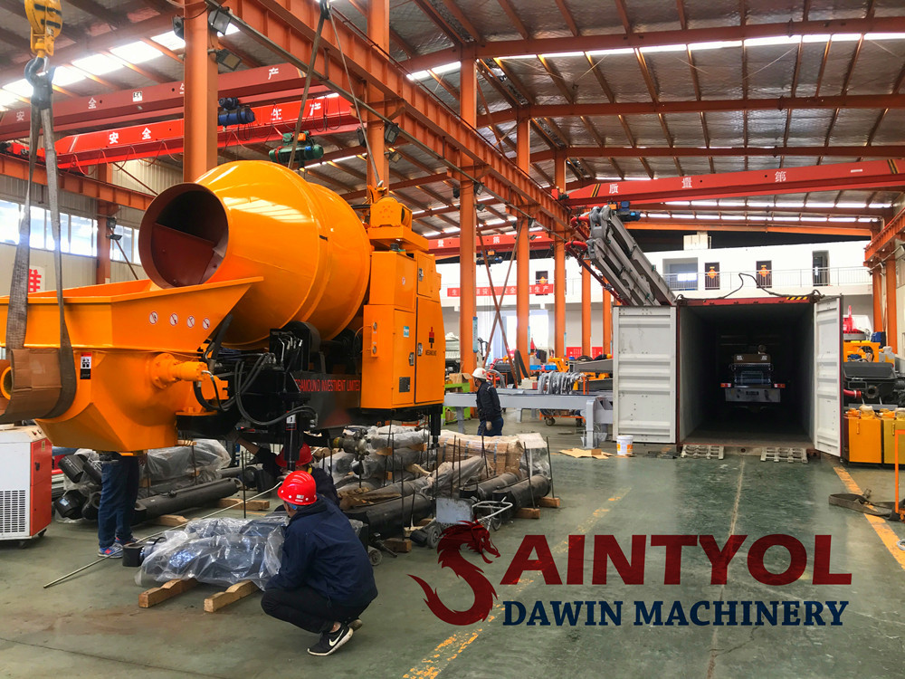 saintyol dawin machinery concrete mixing pump shipped to Nigeria