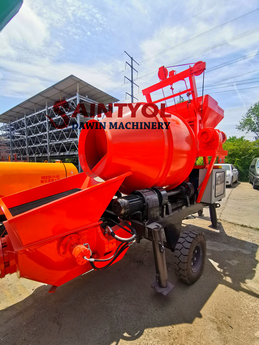 concrete mixing pump with diesel engine