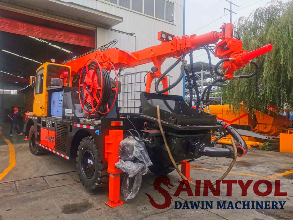 wet concrete spraying machine spraying truck