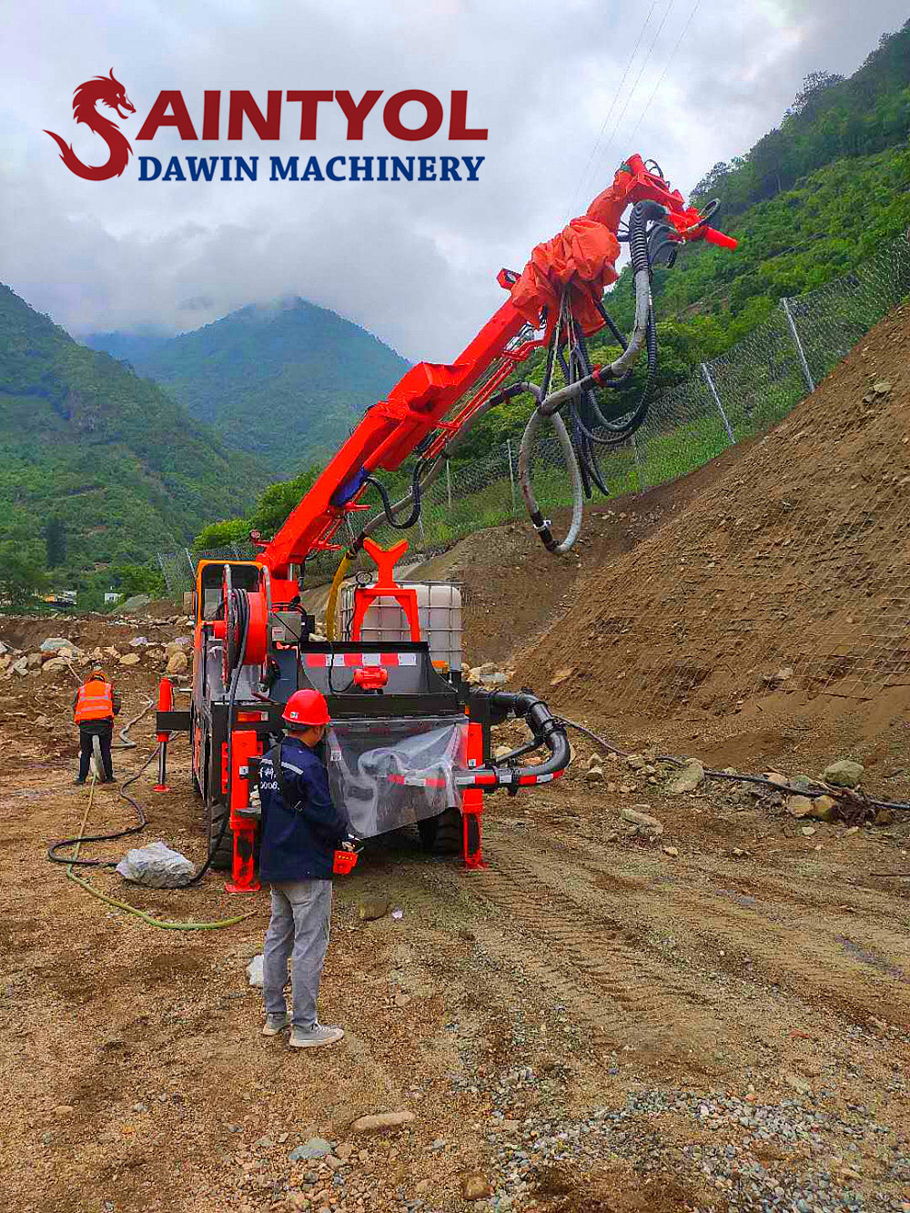 truck mounted placing boom concrete spraying machine