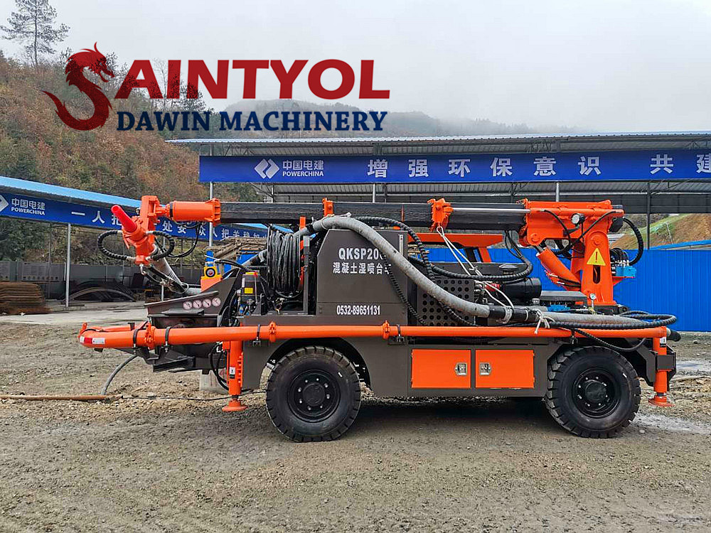 truck mounted concrete spraying machine with placing boom and robot head