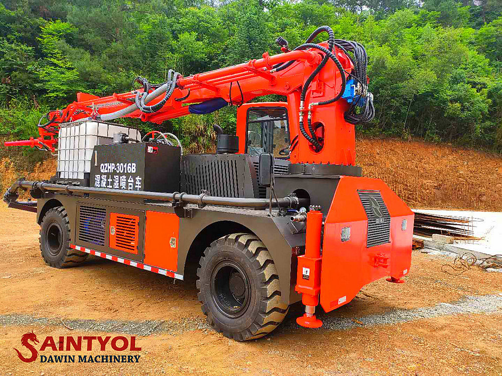 wet concrete spraying machine with truck chassis
