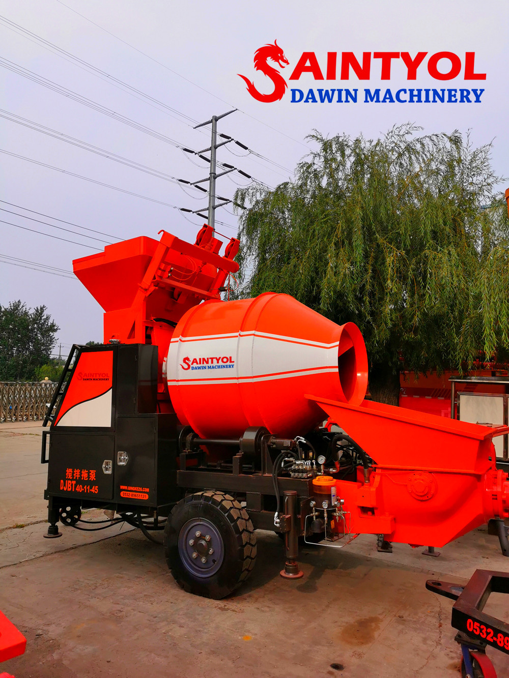diesel electric concrete mixing machine