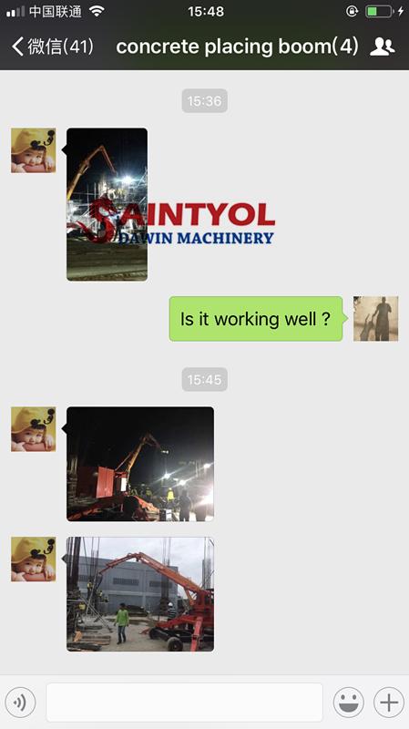 15m hydraulic spider concrete placing boom