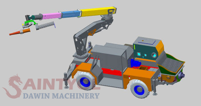 wet concrete spraying machine robot shotcrete pump