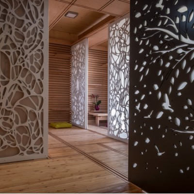decorative aluminum exterior wall cladding with floral patterns on aluminum panels