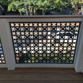 3.0 Balcony aluminum partitions/custom pattern cut out and custom finishes for the panels
