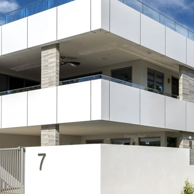 building facade solid panel cladding/sales office with white aluminum facade