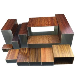 wood grain finish Electrophoretic oxidation aluminum square hollow profile tube for wall decoration