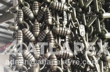 Cadena de protección de neumáticos 601, que se utiliza en neumáticos gaint, para 45 / 65-45 o superior.