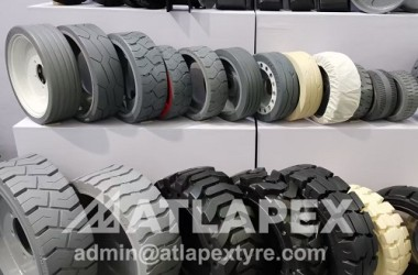 Full range of solid tires and wheels for forklift use, scissor lift, boom lift, Solid OTR, Miling Machine Etc.