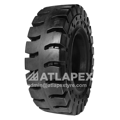 Solid 23.5-25 Tire with AP-TORKY pattern for loader use in tough working condition.