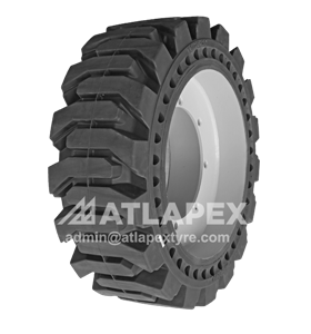 molded-on Solid Skid Steer Tires with AP-SKS pattern for skid steer use available in 10-16.5 and 12-16.5