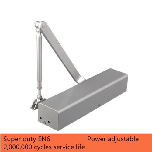 Super Duty Adjustable Power of EN6 Max. 120kg Exposed Installation Aluminum Alloy Door Closer