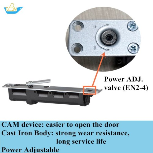Adjustable Power Hold-open CAM Cast Iron Concealed and Exposed Slide Rail Installation Door Closer