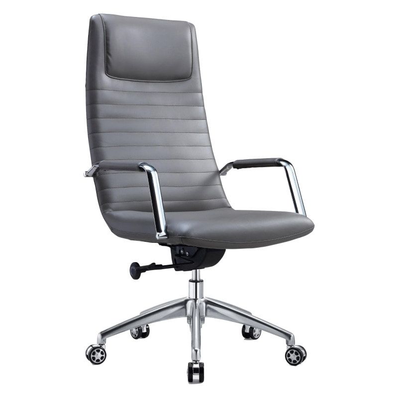 Y&F High Back PU Leather Office Chair with metal armrests and aluminum base
