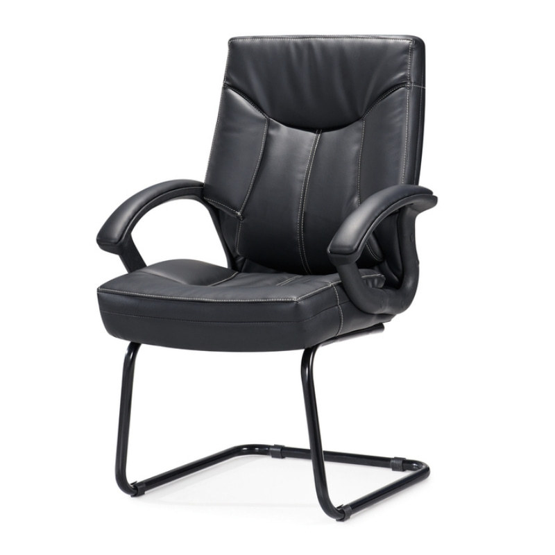 Y&F Mid-Back PU Leather Office Chair with Nylon Armrests and Chrome Base