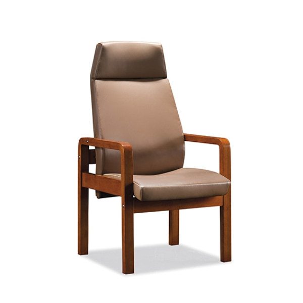 Y&F High Back Leather Office Reception and Guest Chair with Solid Wood Frame (YF-1828A)