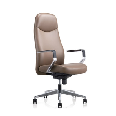 Y&F Big and Tall Leather Office Executive Chair with Aluminum Base(YF-823-077)