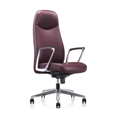 Y&F Big and Tall Leather Office Executive Chair with Aluminum Armrest and Base(YF-823-135)