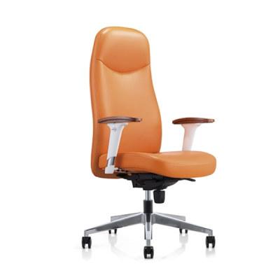 Silla ejecutiva de oficina de cuero grande y alta Y&F con reposabrazos y base de aluminio (YF-823-021)